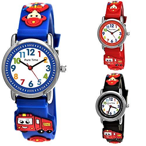 Pure Time® Kinder Feuerwehr-Auto 3D Uhr Jungen-Uhr Mädchen-Uhr Armbanduhr Silikon Armband Junge Mädchen Kinderuhr Schwarz Helblau Blau Rot Orange Grün Sport-Uhr Lern-Uhr