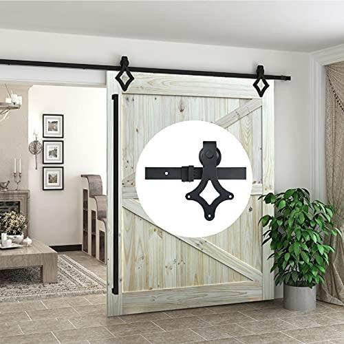 Herraje para Puerta Corredera Kit Kit completo de herrajes para puerta de granero corrediza 5ft-13ft, puerta de empujar y tirar, riel para colgar profesional, riel de polea silenciosa de rombo