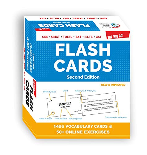 FLASH CARDS by THE BIG CD - GRE GMAT TOEFL SAT IELTS CAT - 1496 HIGH QUALITY Vocabulary FLASH CARDS + Online FLASH CARDS + 50 Online Exercises - English language vocabulary - Synonyms, Antonyms, Usage and more.....