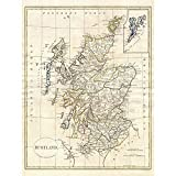 Wee Blue Coo 1799 Clement Cruttwell Map Scotland Vintage