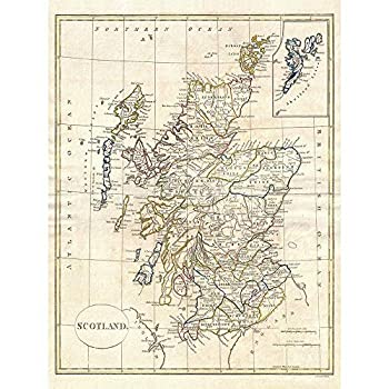 Wee Blue Coo 1799 Clement Cruttwell Map Scotland Vintage Unframed Wall Art Print Poster Home Decor Premium