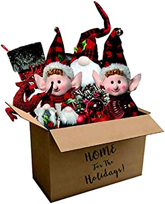 Fraser Hill Farm 182-piece Home for The Holidays Woodland Plaid Ornament and Decor Set, Red