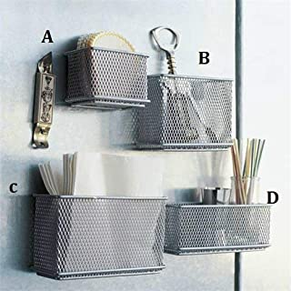Stock Show 4Pcs Magnetic Sturdy Mesh Desk Tray/File Organizer/Office Supply Caddy/Letter Holder/Magnet Basket, Silver Tone