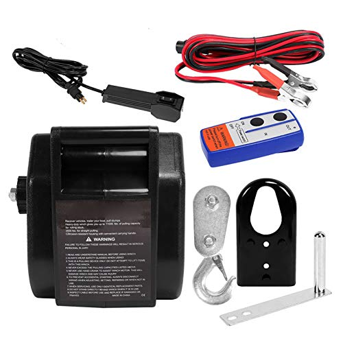 AYNEFY Cabrestante eléctrico de 12 V, 3500 lbs con mando a distancia inalámbrico, cabrestante/cabrestante eléctrico para remolque de barco