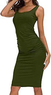 Mitsutomi Women's Solid Ruched Casual Bodycon Flare Short Velvet African Sleeve Fitted Dress