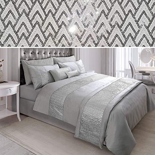 N/A Sequin Diamante Quilt Duvet Cover Set Bedding Linen Silver Grey (02-02) (Double)