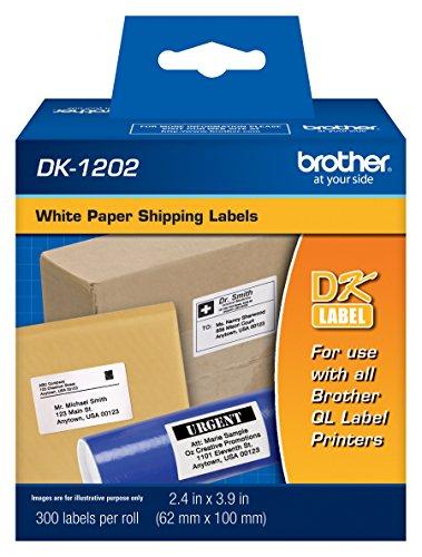 Brother DK-1202 Versand-Etiketten, gestanzt, langlebig, zuverlässig, 300 Etiketten pro Rolle, 1 Rolle pro Box