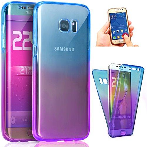 Coque Galaxy S7,Etui Galaxy S7,ikasus Intégral 360 Degres avant + arrière Full Body Protection Couleur de dégradé Transparente Silicone Gel TPU Souple Housse Etui Case Coque pour Galaxy S7,Bleu Violet