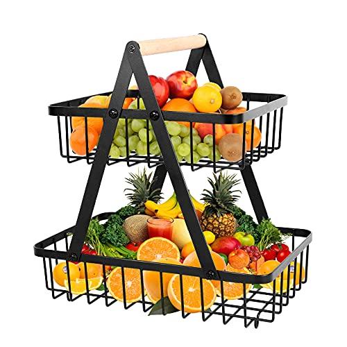 iVict Frutero de 2 pisos, cesta de metal para verduras, cesta de almacenamiento de cocina, cesta decorativa para frutas, cuenco