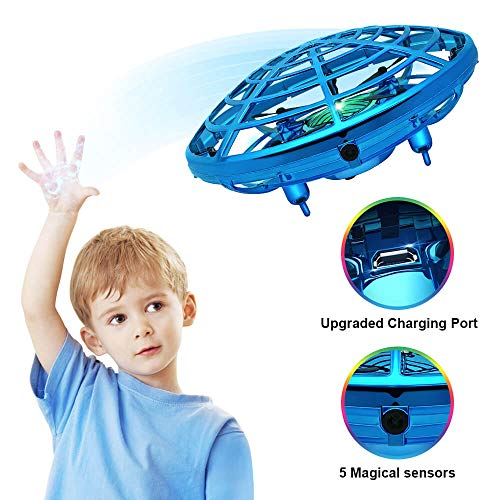Hand Operated Drone for Kids, Hand Scoot Drone, Flying Ball Drone, with 5 Upgraded Interactive Sensors, 360 Degree Rotating Indoor Drone for Kids, UFO Toy For Boys and Girls.