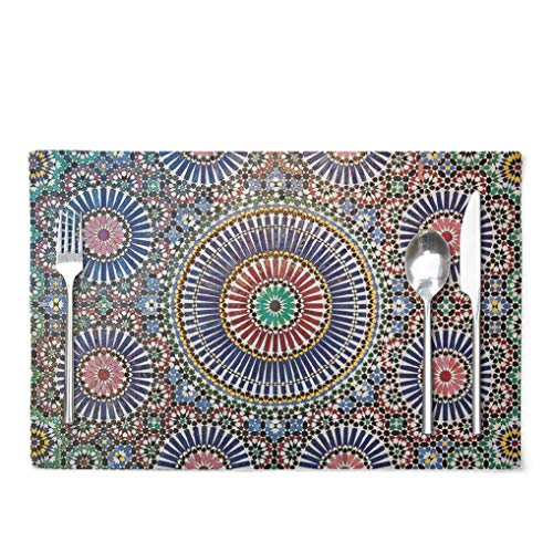 Ansote Moroccan Placemats, Moroccan Tile Stone Work Best Full Mosaic Mosque 12x18 Inch Set of 4 Placemats Heat Resistant Dining Table Place Mats Kitchen,Linen Non Slip for KidsMoroccan Tile Amp