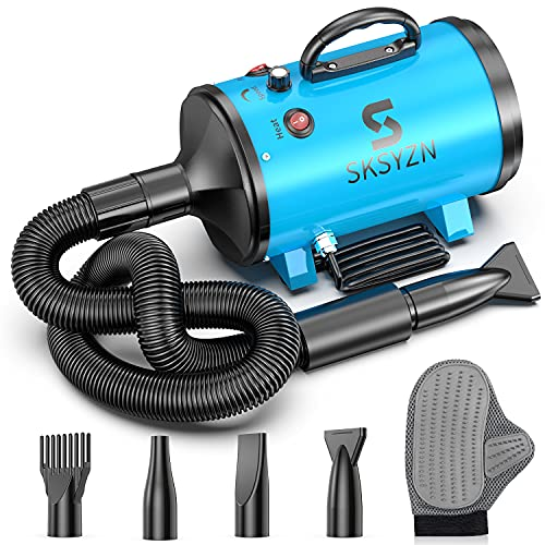 SKSYZN Dog Dryer 3200W/4.3HP Motor Stepless Adjustable Speed Dog Hair Dryer, Pet Dog Grooming Dryer Blower with 98.4''Spring Hose,4 Different Nozzles, and Pet Grooming Glove
