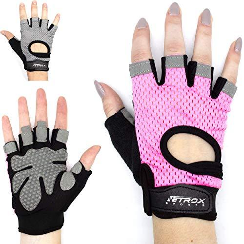 Fitness Handschuhe Damen Frauen Mädchen Dame Frau Herr Mann Männer Herren Krafttraining Outdoor Gelenkschutz blau rot schwarz rosa pink in XXS XS S M L XL XXL (rosa, S)