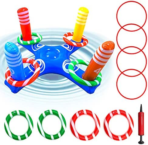 IFLYOOY Upgrade Inflatable Pool Ring Toss Pool Game Toys Floating Swimming Pool Ring for Multiplayer product image