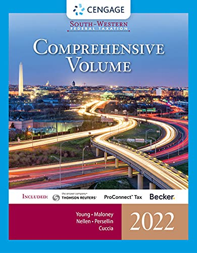 Compare Textbook Prices for South-Western Federal Taxation 2022: Comprehensive with Intuit ProConnect Tax Online & RIA Checkpoint, 1 term Printed Access Card 45 Edition ISBN 9780357511015 by Young, James C.,Maloney, David M.,Nellen, Annette,Persellin, Mark,Cuccia, Andrew D.