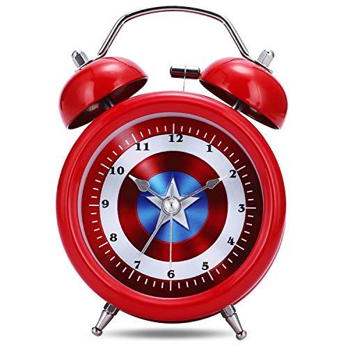 Lafocuse 8cm Despertador Infantil Captain Analógico con Doble Campana y Luz de Noche Reloj de Mesa Silencioso Rojo