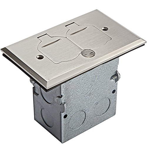 ENERLITES Nickel Plated Brass Flip Lid Cover Floor Box Kit includes 20A Tamper-Weather Resistant Duplex Receptacle Outlet, 1- Gang Junction Box, Watertight Gaskets, UL Listed, 975507-S