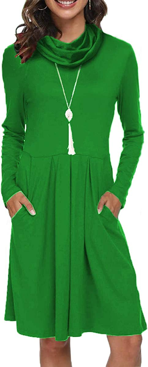 Women's Long Sleeve Casual Loose Swing Dress Pleated T-Shirt Short Dress with Pockets