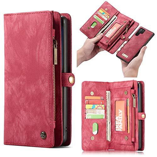 CaseMe Leder Galaxy Note 10 Pro hülle, magnetisch Flip Folio Lederhülle Wallet Handyhülle für Samsung Galaxy Note 10 Plus Ständer Cover, 13 x Kreditkarte Slots, 2 in 1 zurück hülle (Note 10+, Rot)