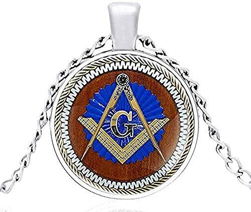 WYDSFWL Collar Nuevo Collar con Colgante de Metal de cúpula de Cristal masónico Vintage Hombres y Mujeres joyería Cadena de Regalo Longitud 80 cm Collar