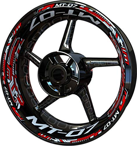 Motocicleta Moto Llanta Inner Rim Tape Decal Pegatinas F2 para Yamaha MT07 MT-07 MT 07 (Rojo/Plata)