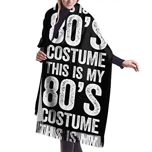 Ahdyr Bufanda de chal para mujer BlackThis Is My 80 's Disfraz Bufanda de invierno Bufandas de cachemira Elegante Chal envuelve Manta