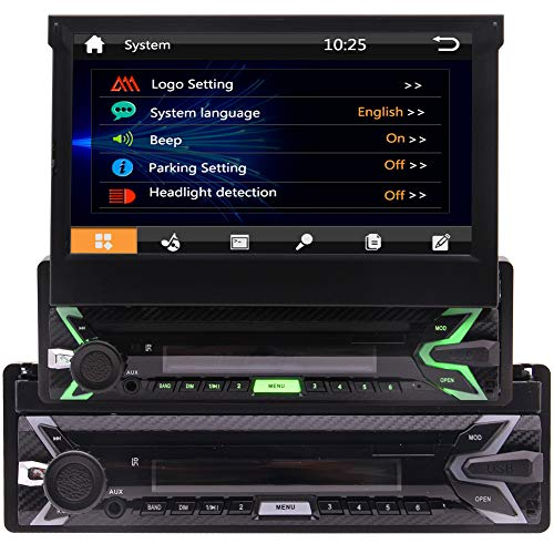Car Stereo Autoradio Single DIN in-Dash AM/FM Radio Receiver with 7-Inch Flip-Out Touchscreen Monitor and USB/SD Input/GPS Navigation/Bluetooth/MP5 Player/Wireless Remote Control