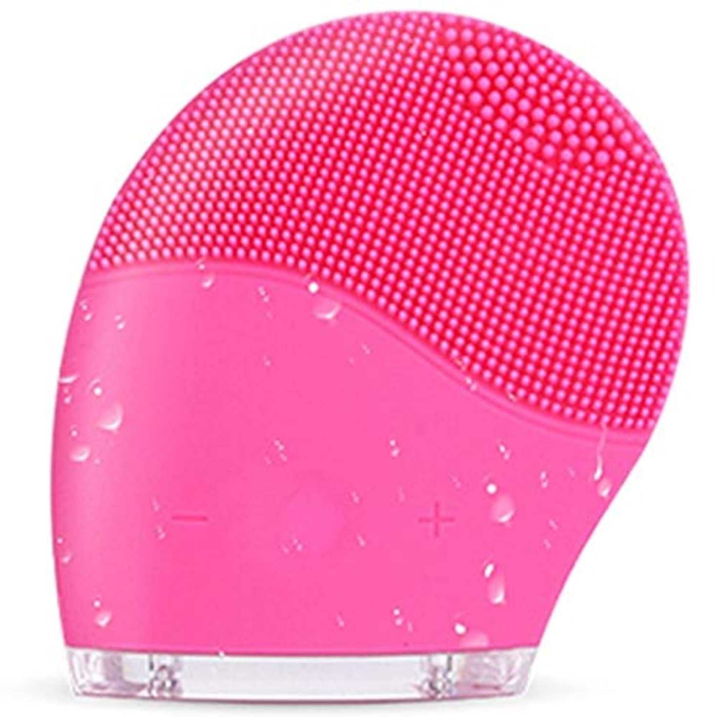 合体ボーナス招待すべての肌タイプのディープクレンジング、スクラブ、およびにきびを減らすためのシリコンフェイスクレンジングブラシ、防水アンチエイジング超音波フェイシャルブラシ、ディープエクスフォリエーターメイクアップツール (Color : Red)