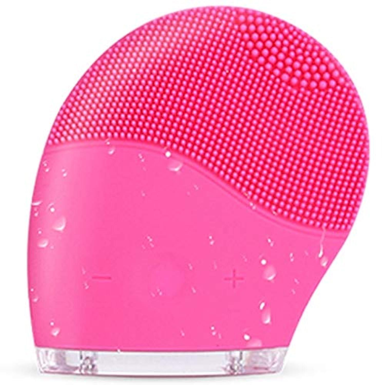 すべての肌タイプのディープクレンジング、スクラブ、およびにきびを減らすためのシリコンフェイスクレンジングブラシ、防水アンチエイジング超音波フェイシャルブラシ、ディープエクスフォリエーターメイクアップツール (Color : Red)