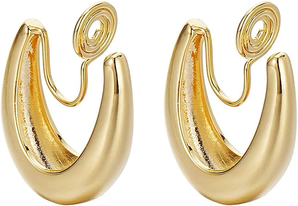 Gold Hoop Clip on Earrings U shape Fashion Clip Earrings