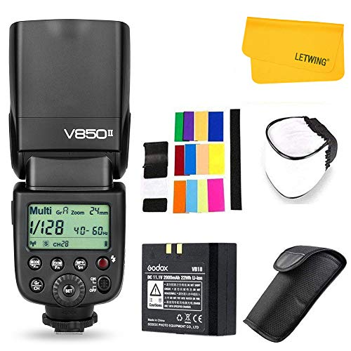 Godox V850II Ving GN60 2.4G 1/8000s HSS Camera Flash Speedlight with 2000mAh Li-ion Battery Features 1.5s Recycle time and 650 Full Power Pops Compatible for Canon Nikon Pentax Olympus