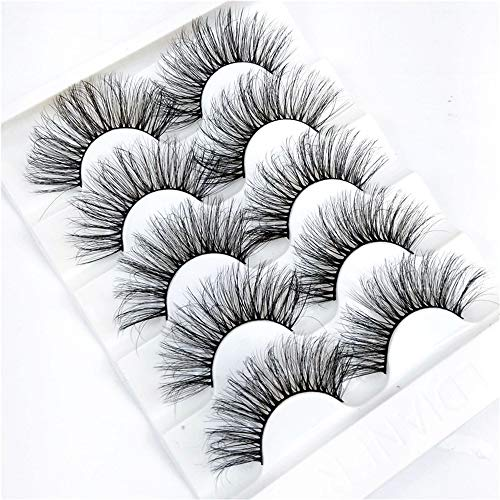 Handmade 5Pairs 6D Faux Mink Hair False Eyelashes Natural/Thick Long Eye Lashes Wispy Makeup Beauty Extension Tools Full Strips cil(6D-05)