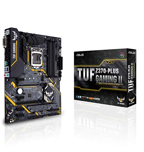 Asus TUF Z370-PLUS GAMING II Scheda Madre Gaming per Processori Intel LGA 1151 di 9th/8th gen, LED, Supporto RAM DDR4 4000MHz, 32 GB/s M.2, Memoria Intel Optane, e USB 3.1, ATX, Nero