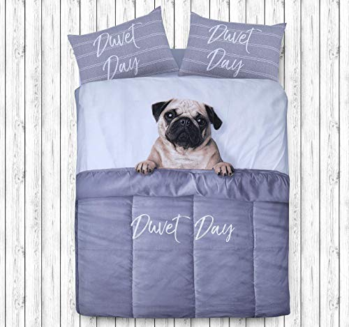Sleepdown Daytime Pug Animal Print 3D Design Duvet Cover Quilt Bedding Set with Pillowcases (Double)