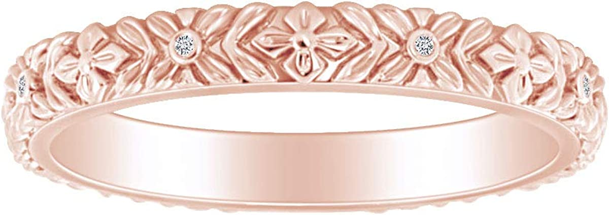 Round White Natural Diamond Accent Bloom Stackable Wedding Band Ring 14k Solid Gold (I-J Color, I2-I3 Clarity, 0.02 Cttw)