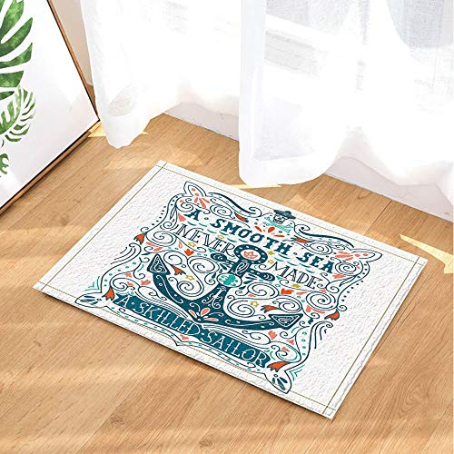 123456789 Alfombra de baño antideslizante para decoración náutica, diseño de ancla, para interiores, 60 x 40 cm, accesorios de baño