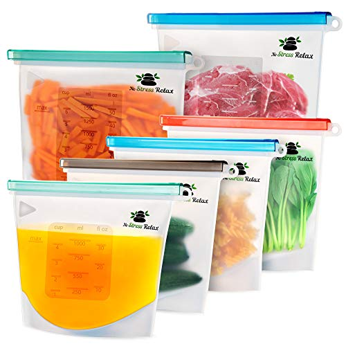 Reusable Silicone Food Storage Bags 6 Pcs [2x1.5L+4x1L] With...