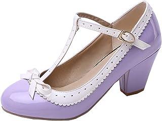 LOVOUO Mary Jane Femme Lanière Escarpin Talon Carré Bloc Haut Vernis avec Noeud Boucles Chaussures 7CM