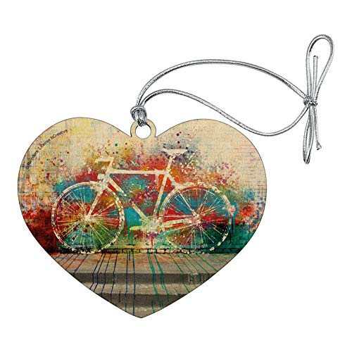GRAPHICS & MORE Colorful Rainbow Negative Space Bicycle Bike Wall Heart Love Wood Christmas Tree Holiday Ornament
