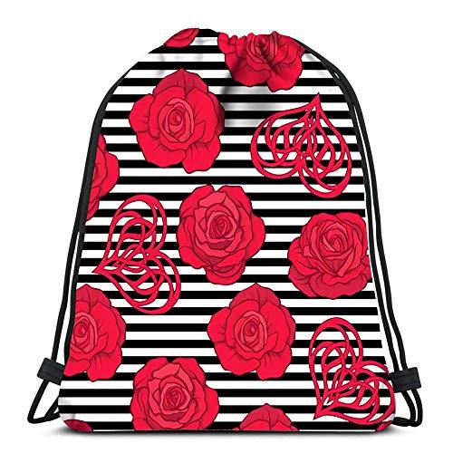 Ahdyr La Mochila con cordón empaqueta Las Rosas Rojas y el Bolso del poliéster del Almacenamiento del Deporte del corazón del Amor para el Gimnasio