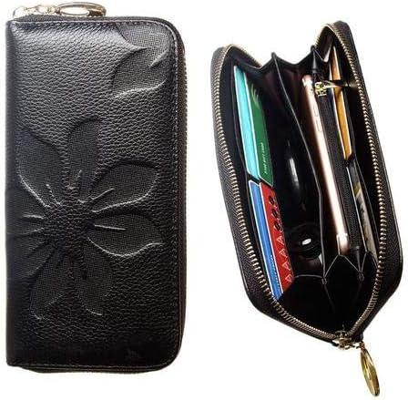 Women's Leather Wallet Embossed Flower with Credit Card Holder, Cash Slots and Smartphone Pocket [Flower Wallet]