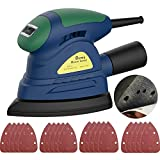 Rumia Detail Sander, 130W (1.1A) 13000 RPM Mouse Sander with 20 Pieces Sandpapers, Electric Sander with Dust-proof Switch and Sanders Dust Collection System for Woodworking - MS01A