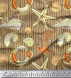 Soimoi Braun Viskose Chiffon Stoff Streifen, Muscheln und