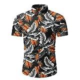 Xmiral Camicia Uomo Slim Fit Camicia Hawaiana Uomo Uomo Button Down Shortsleeve Uomo Camicie Uomo Maniche Corte Camicia Jeans Uomo (L,8Nero)