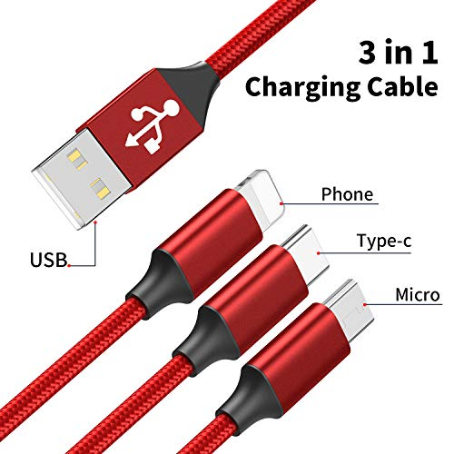 Multi USB Kabel, GIANAC 3 in 1 Ladekabel (1.5M) Nylon Mehrfach Ladekabel iP Micro USB Typ C für Android Galaxy S10 S9 S8 S7 S6 A50, Huawei P30 P20, Xiaomi, Sony, Kindle, Echo Dot(ROT)