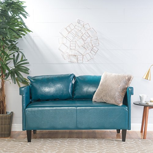 Christopher Knight Home Bellerose Leather Settee, Teal