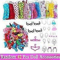 人形用ドレス ドール靴ブーツミニドレスハンドバッグクラウンハンガーメガネ人形の服子供のおもちゃのための人形アクセサリー YXJJP (Color : Random 42 pcs, Size : フリー)