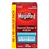MegaRed 500mg Extra Strength Omega-3 Krill Oil - No fishy aftertaste as with Fish Oil, 80 softgels