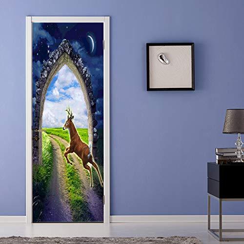 Qazwsxedc Magic Flying Deer 3D Pegatina De Puerta De Simulación Extraíble Impermeable...