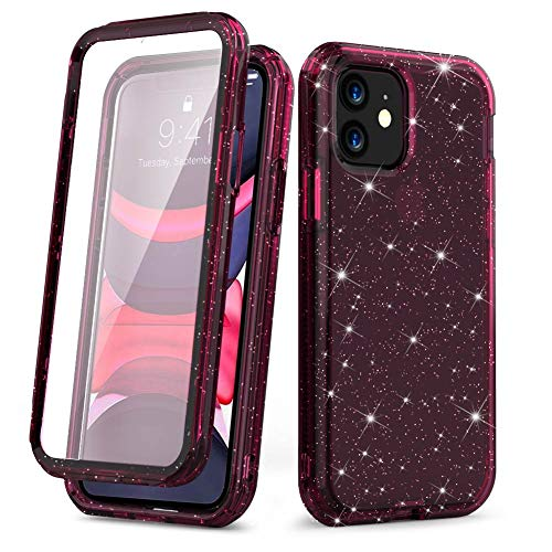 Vooii iPhone 11 Case, Anti-Scratch Clear iPhone 11 Case [Glitter Bling Crystal Quartz Design with Built in Screen Protector] Soft TPU Full Body Protective Case for iPhone 11,WineRed